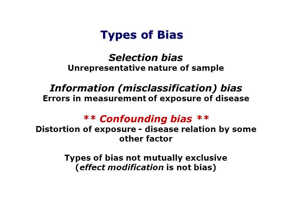 Selection bias Unrepresentative nature of sample Information (misclassification) bias Errors in measurement of exposure of disease ** Confounding bias
