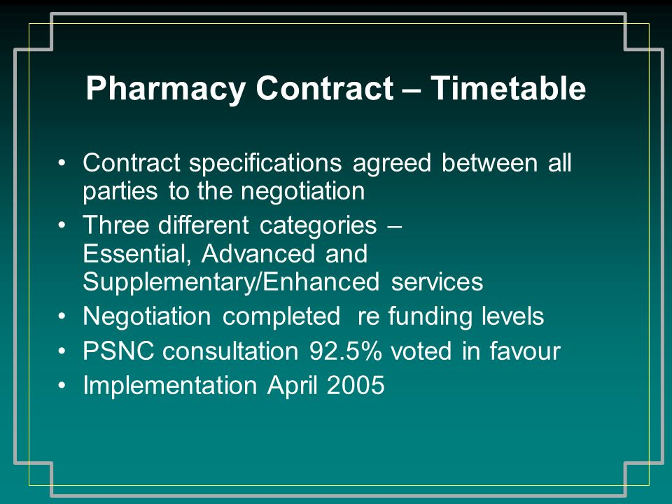 Pharmacy Contract – Timetable Contract specifications agreed between all parties to the negotiation Three different categories – Essential, Advanced a