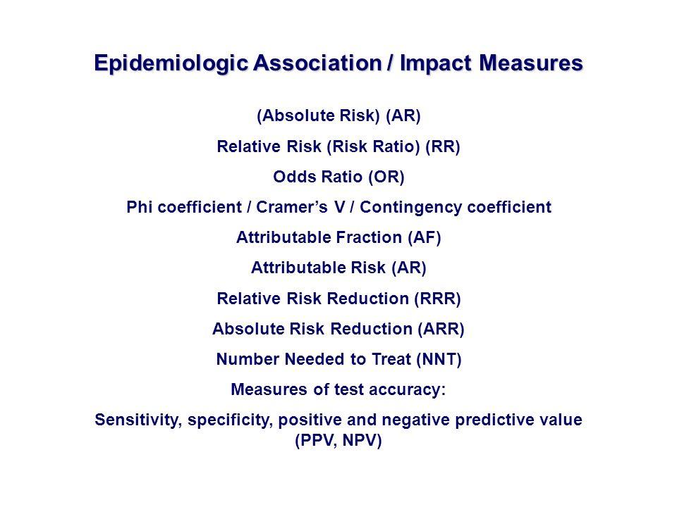 (Absolute Risk) (AR) Relative Risk (Risk Ratio) (RR) Odds Ratio (OR) Phi coefficient / Cramers V / Contingency coefficient Attributable Fraction (AF)