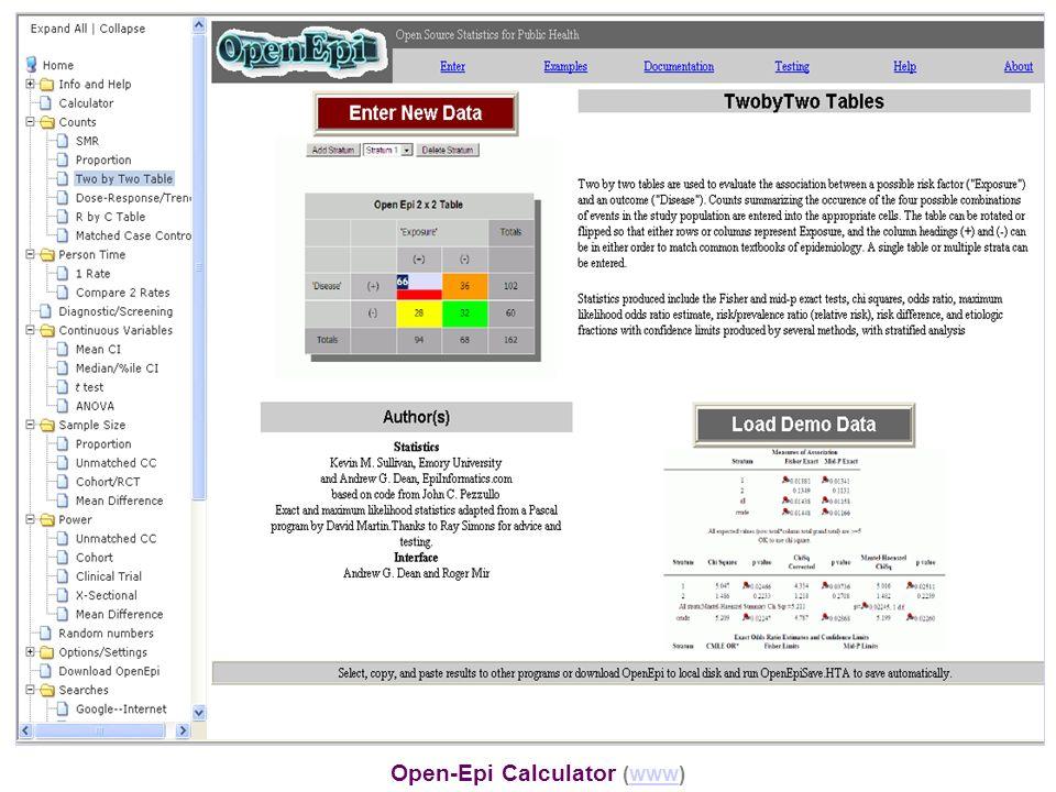 Open-Epi Calculator (www)www