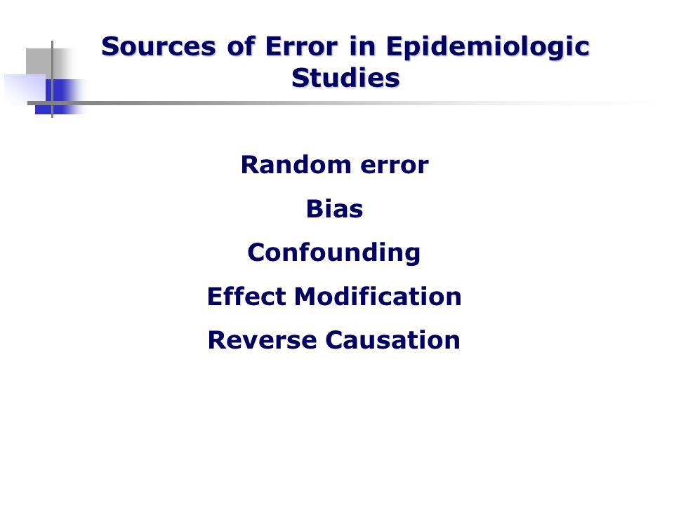 Sources of Error in Epidemiologic Studies Random error Bias Confounding Effect Modification Reverse Causation