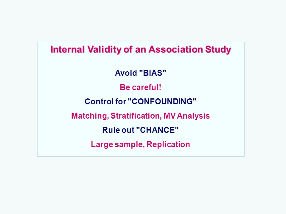 Internal Validity of an Association Study Avoid