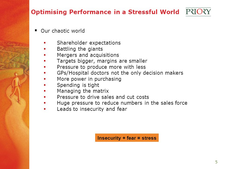 5 Optimising Performance in a Stressful World Our chaotic world Shareholder expectations Battling the giants Mergers and acquisitions Targets bigger, margins are smaller Pressure to produce more with less GPs/Hospital doctors not the only decision makers More power in purchasing Spending is tight Managing the matrix Pressure to drive sales and cut costs Huge pressure to reduce numbers in the sales force Leads to insecurity and fear Insecurity + fear = stress