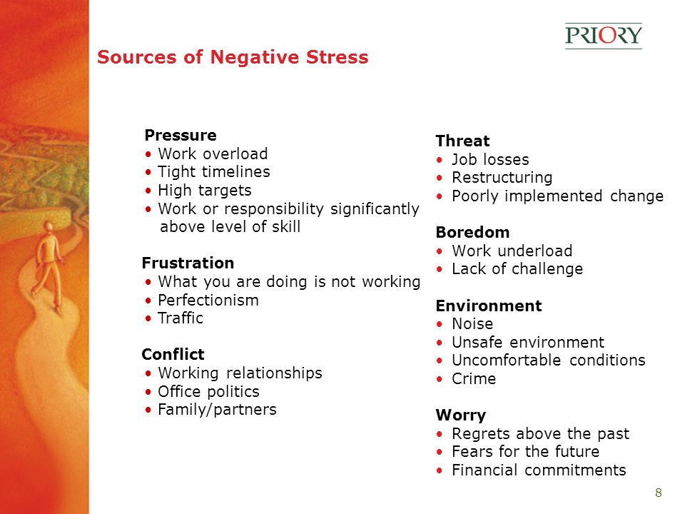 8 Sources of Negative Stress Threat Job losses Restructuring Poorly implemented change Boredom Work underload Lack of challenge Environment Noise Unsafe environment Uncomfortable conditions Crime Worry Regrets above the past Fears for the future Financial commitments Pressure Work overload Tight timelines High targets Work or responsibility significantly above level of skill Frustration What you are doing is not working Perfectionism Traffic Conflict Working relationships Office politics Family/partners