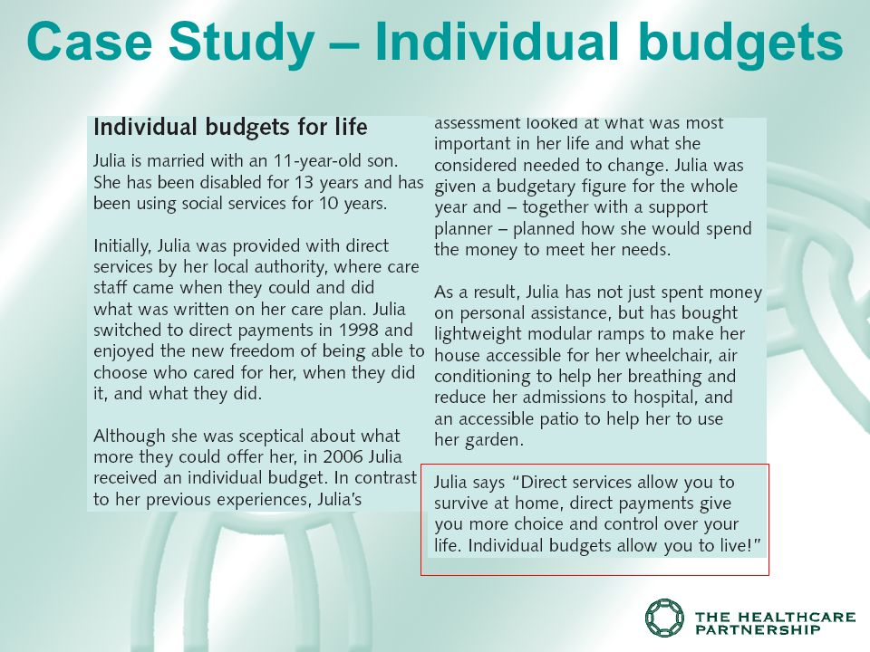 Case Study – Individual budgets