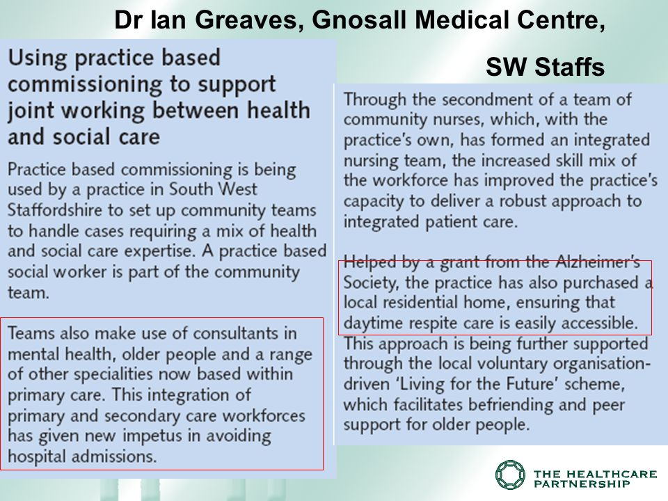 Dr Ian Greaves, Gnosall Medical Centre, SW Staffs