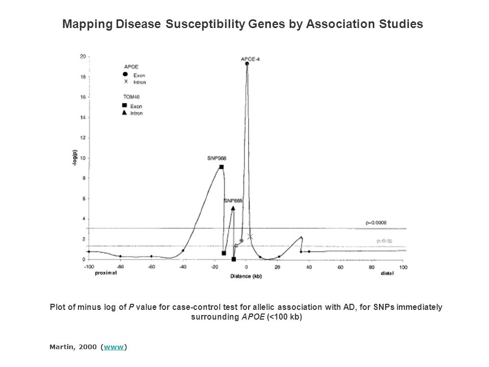 Martin, 2000 (www)www Mapping Disease Susceptibility Genes by Association Studies Plot of minus log of P value for case-control test for allelic assoc