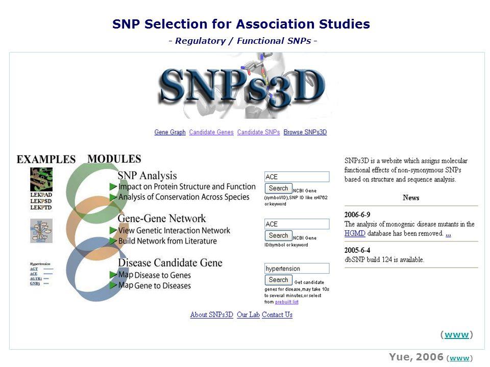 SNP Selection for Association Studies Yue, 2006 (www)www (www)www - Regulatory / Functional SNPs -