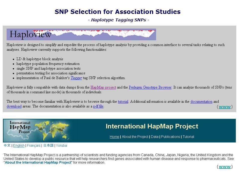 SNP Selection for Association Studies (www)www (www)www - Haplotype Tagging SNPs -