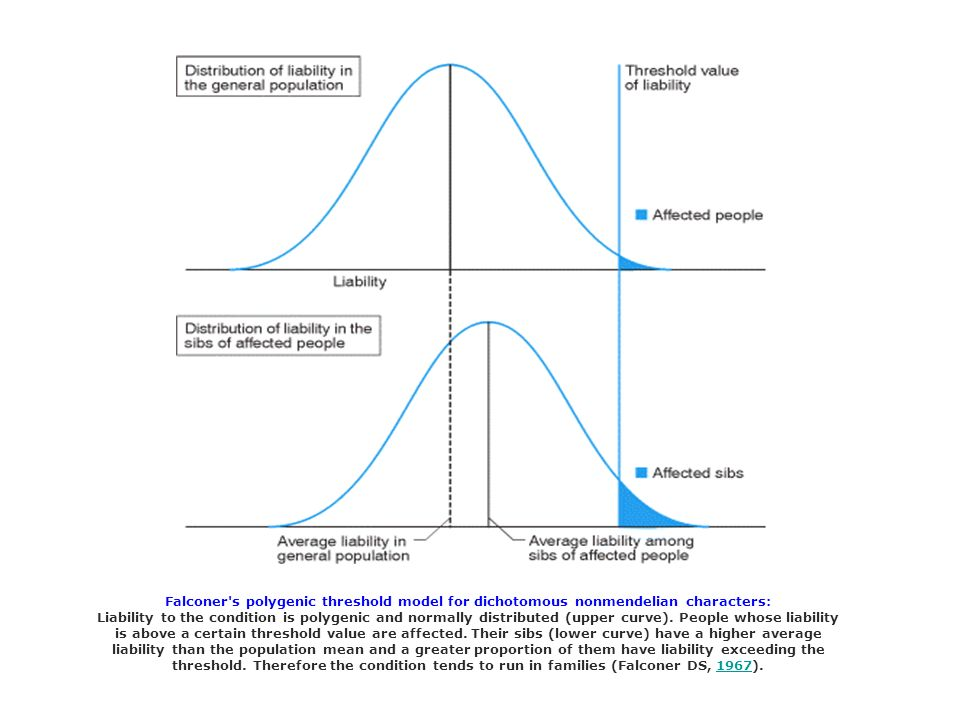 Falconer's polygenic threshold model for dichotomous nonmendelian characters: Liability to the condition is polygenic and normally distributed (upper
