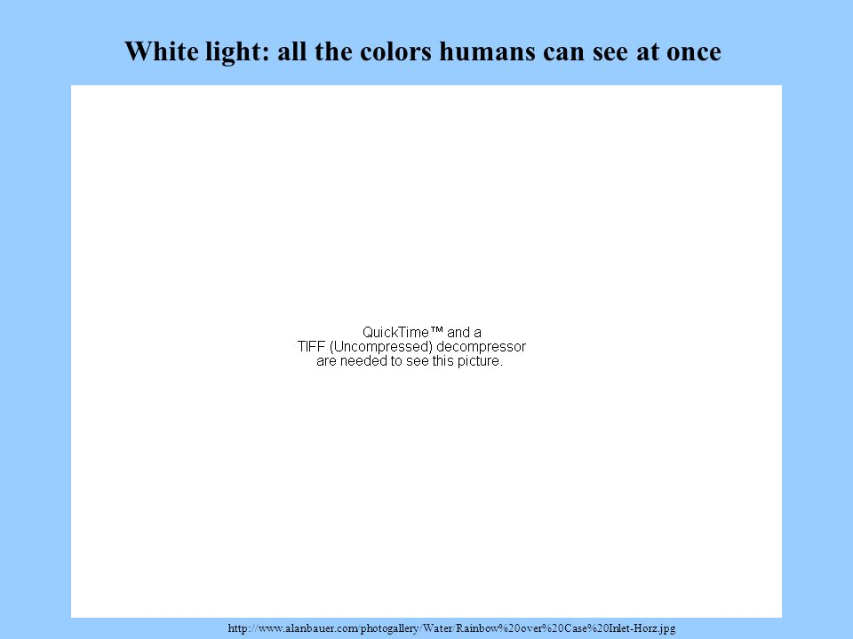 http://www.alanbauer.com/photogallery/Water/Rainbow%20over%20Case%20Inlet-Horz.jpg White light: all the colors humans can see at once