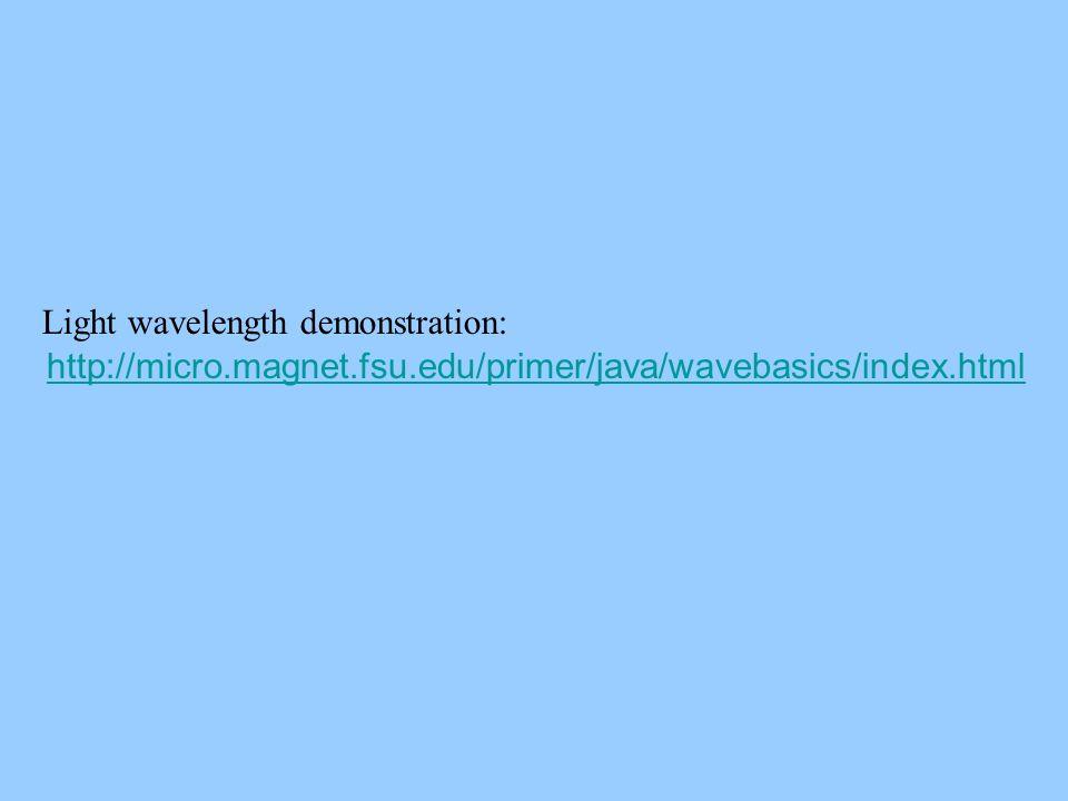 Light wavelength demonstration: http://micro.magnet.fsu.edu/primer/java/wavebasics/index.html