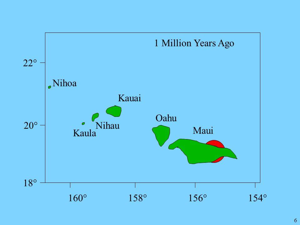 6 22° 20° 18° 160°158°156°154° Kauai 1 Million Years Ago Nihoa Nihau Kaula Oahu Maui