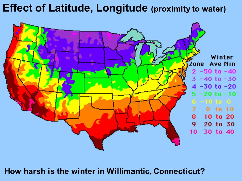 Effect of Latitude, Longitude (proximity to water) How harsh is the winter in Willimantic, Connecticut?
