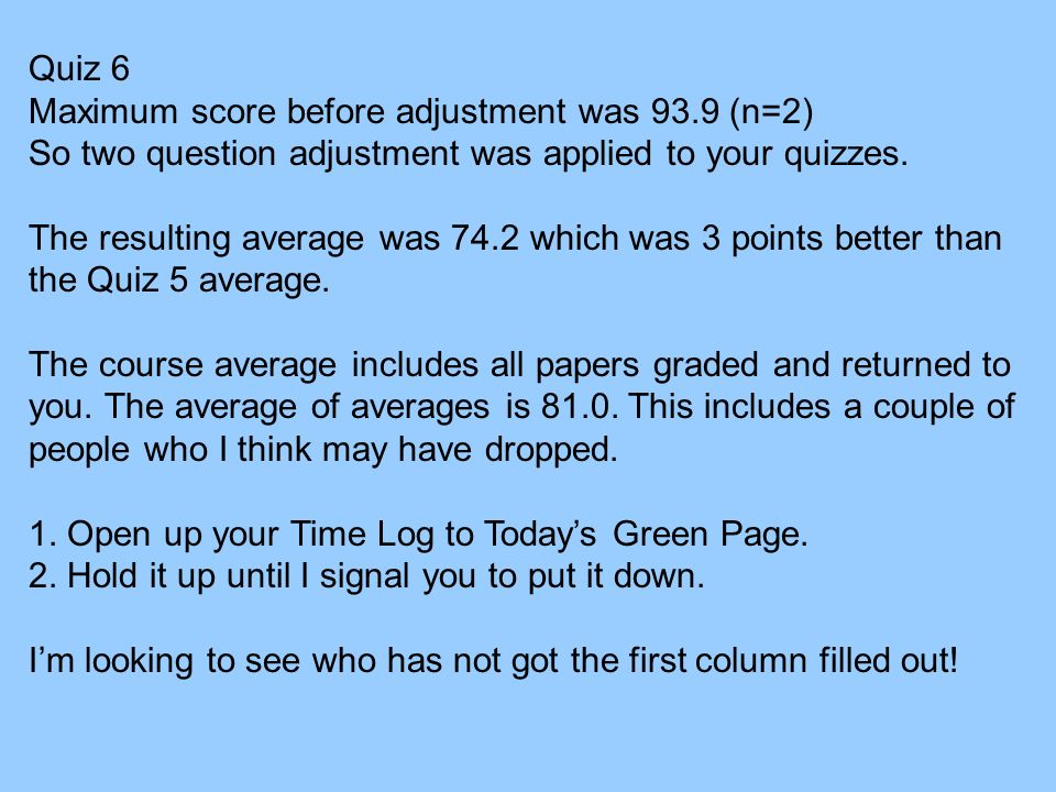 Quiz 6 Maximum score before adjustment was 93.9 (n=2) So two question adjustment was applied to your quizzes. The resulting average was 74.2 which was