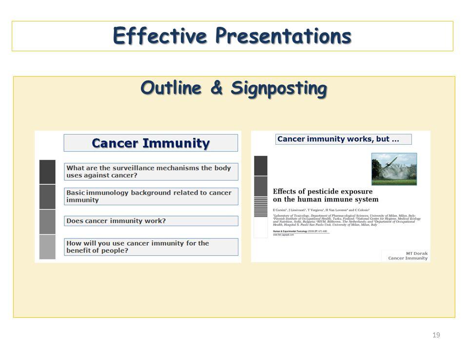 Effective Presentations Outline & Signposting 19
