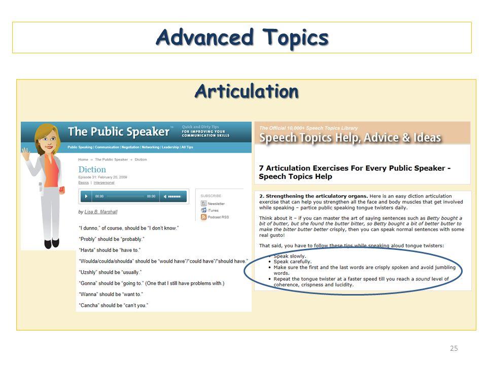 Advanced Topics Articulation 25