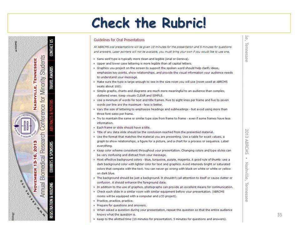 Check the Rubric! 35
