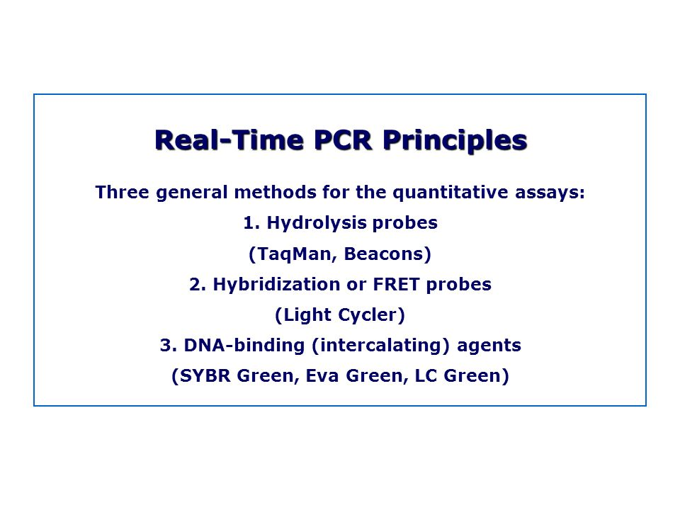 Real-Time PCR Principles Three general methods for the quantitative assays: 1. Hydrolysis probes (TaqMan, Beacons) 2. Hybridization or FRET probes (Li