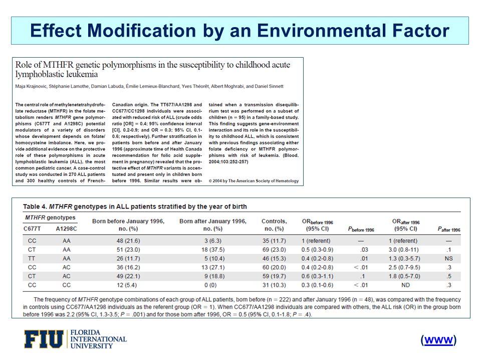 (www)www Effect Modification by an Environmental Factor