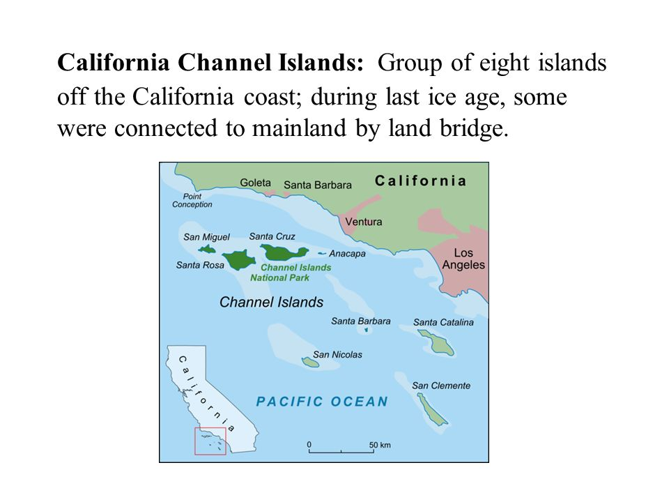 California Channel Islands: Group of eight islands off the California coast; during last ice age, some were connected to mainland by land bridge.