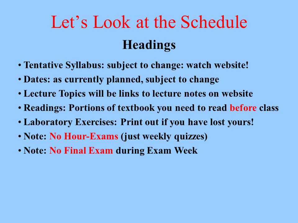 Lets Look at the Schedule Headings Tentative Syllabus: subject to change: watch website! Dates: as currently planned, subject to change Lecture Topics