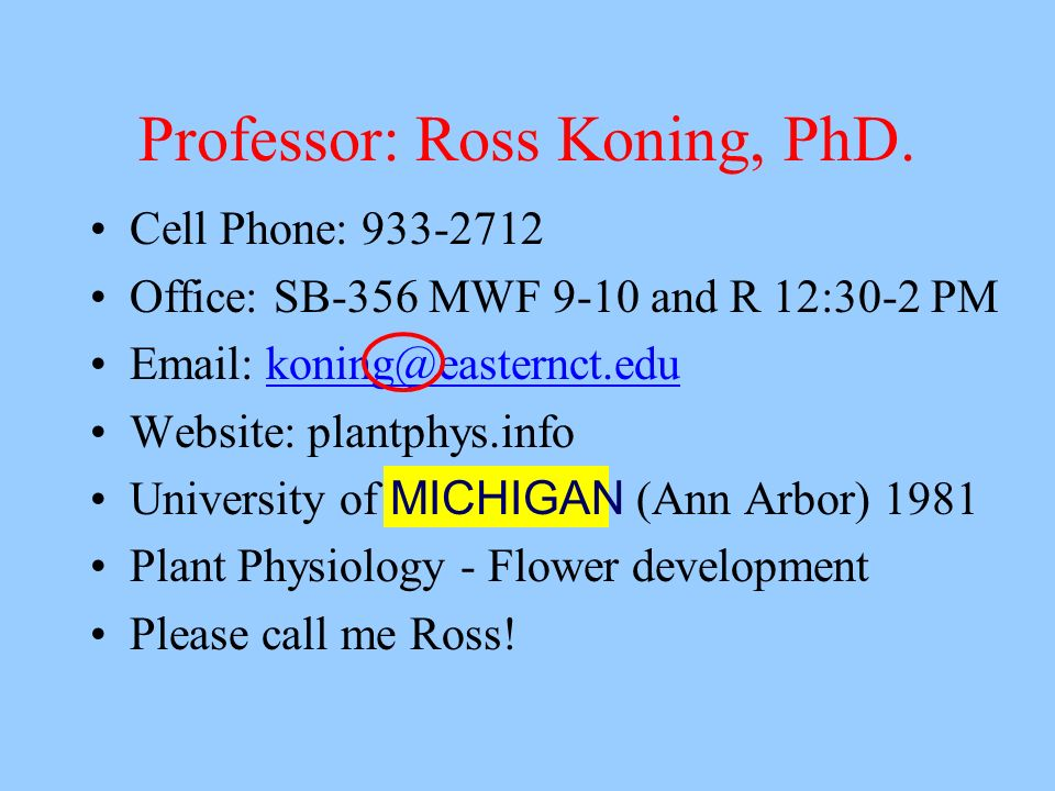 Professor: Ross Koning, PhD.