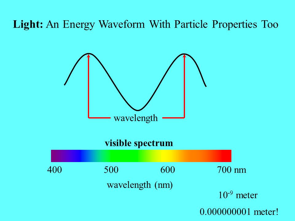 Light: An Energy Waveform With Particle Properties Too wavelength (nm) 10 -9 meter 0.000000001 meter! 400 500 600 700 nm wavelength visible spectrum