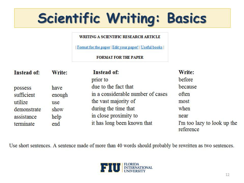 Scientific Writing: Basics 12