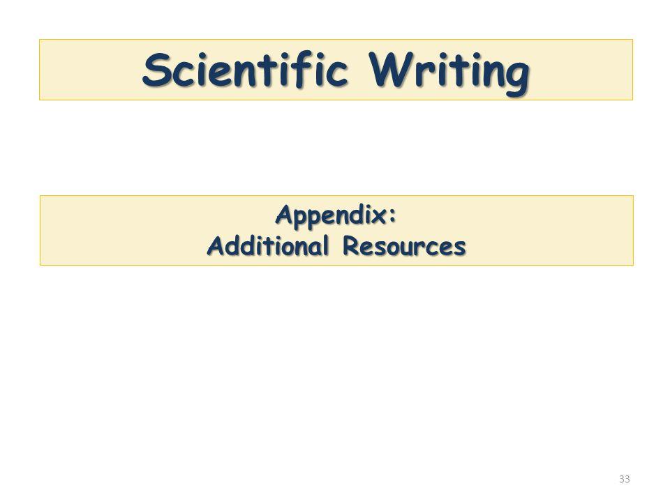 33 Scientific Writing Appendix: Additional Resources