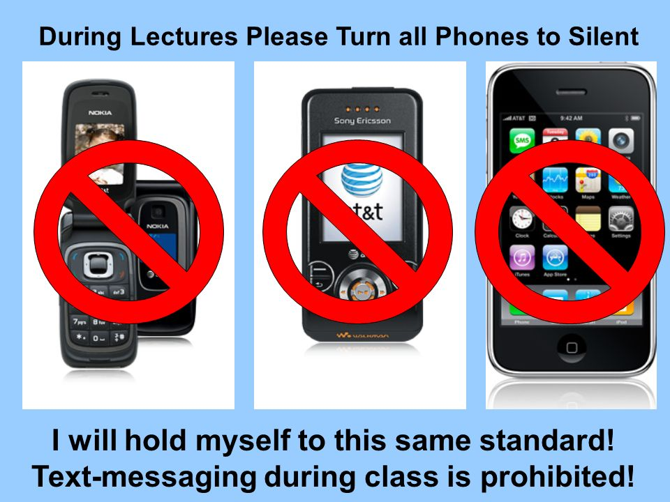 During Lectures Please Turn all Phones to Silent I will hold myself to this same standard! Text-messaging during class is prohibited!