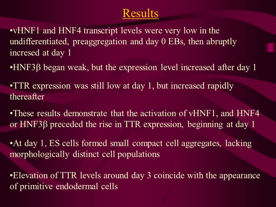 Results vHNF1 and HNF4 transcript levels were very low in the undifferentiated, preaggregation and day 0 EBs, then abruptly incresed at day 1 HNF3 began weak, but the expression level increased after day 1 TTR expression was still low at day 1, but increased rapidly thereafter These results demonstrate that the activation of vHNF1, and HNF4 or HNF3 preceded the rise in TTR expression, beginning at day 1 At day 1, ES cells formed small compact cell aggregates, lacking morphologically distinct cell populations Elevation of TTR levels around day 3 coincide with the appearance of primitive endodermal cells