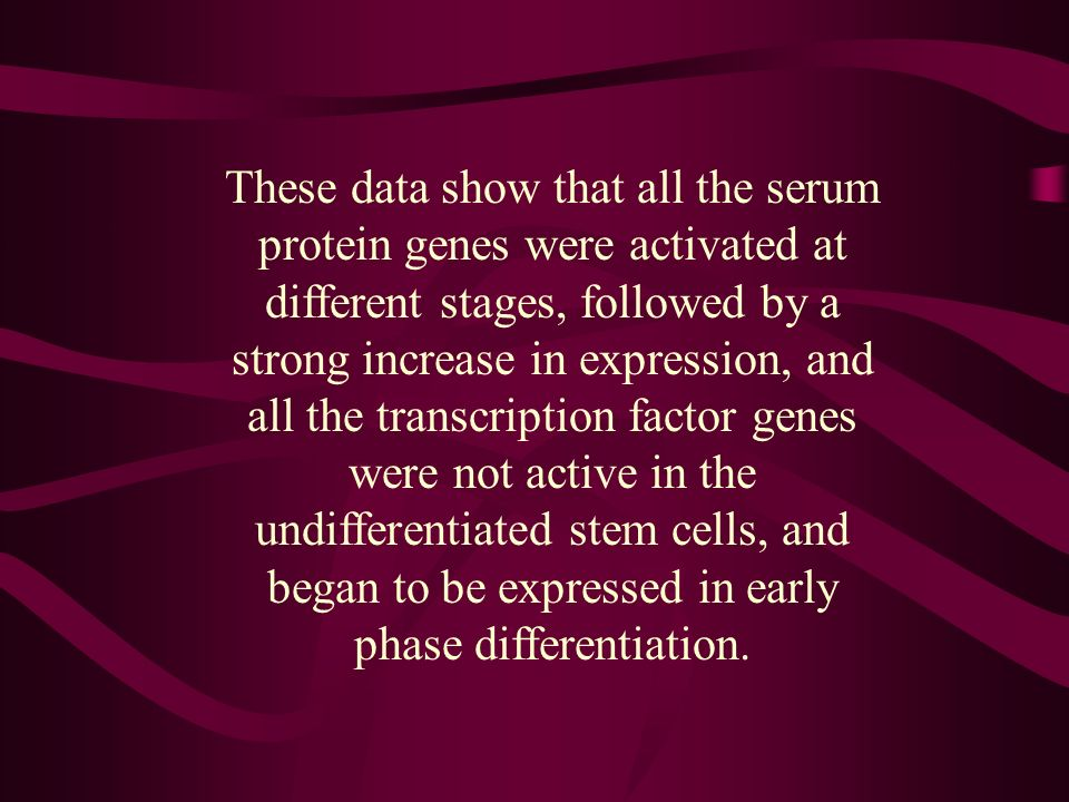 These data show that all the serum protein genes were activated at different stages, followed by a strong increase in expression, and all the transcription factor genes were not active in the undifferentiated stem cells, and began to be expressed in early phase differentiation.