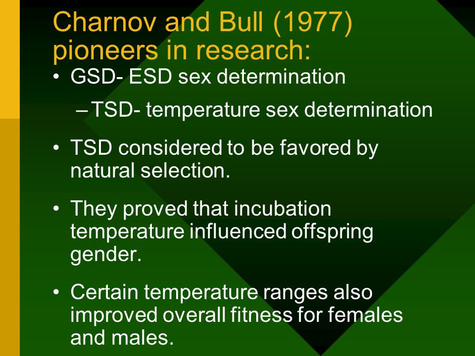 Charnov and Bull (1977) pioneers in research: GSD- ESD sex determination –TSD- temperature sex determination TSD considered to be favored by natural selection.