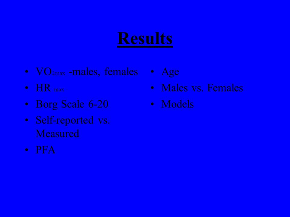 Materials and Methods N=100 50 males 50 females Ages 18-29 Body tests Questionnaires Treadmill test Breathing apparatus Heart rate VO 2 –oxygen uptake Respiratory exchange