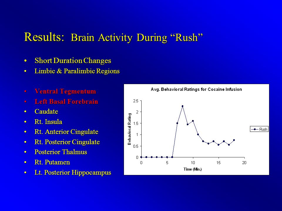 Results: Brain Activity During Rush Short Duration ChangesShort Duration Changes Limbic & Paralimbic RegionsLimbic & Paralimbic Regions Ventral TegmentumVentral Tegmentum Left Basal ForebrainLeft Basal Forebrain CaudateCaudate Rt.