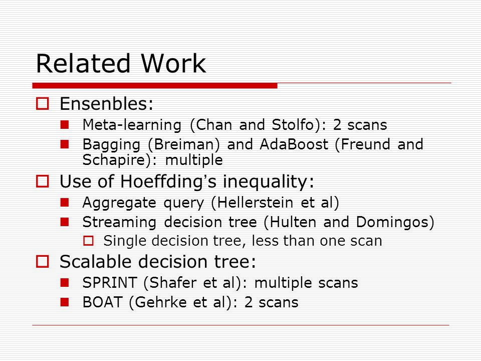 Related Work Ensenbles: Meta-learning (Chan and Stolfo): 2 scans Bagging (Breiman) and AdaBoost (Freund and Schapire): multiple Use of Hoeffding s ine