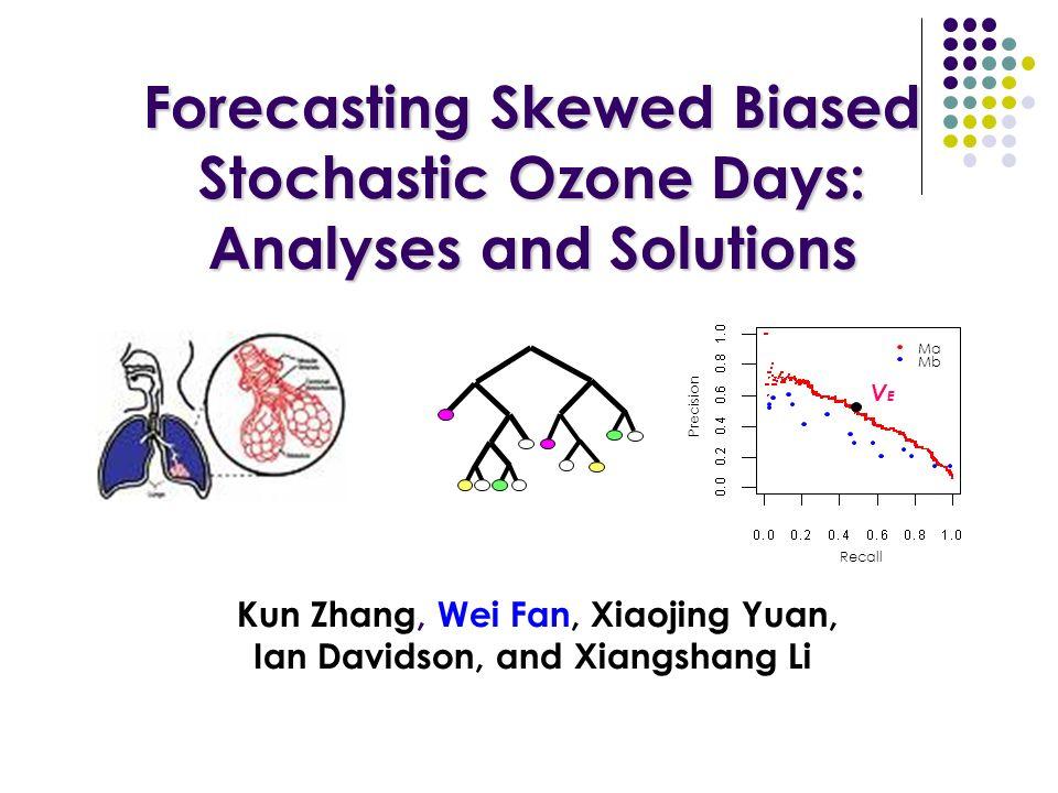 Forecasting Skewed Biased Stochastic Ozone Days: Analyses and Solutions Forecasting Skewed Biased Stochastic Ozone Days: Analyses and Solutions Kun Zhang, Wei Fan, Xiaojing Yuan, Ian Davidson, and Xiangshang Li Recall Precision Ma Mb VEVE