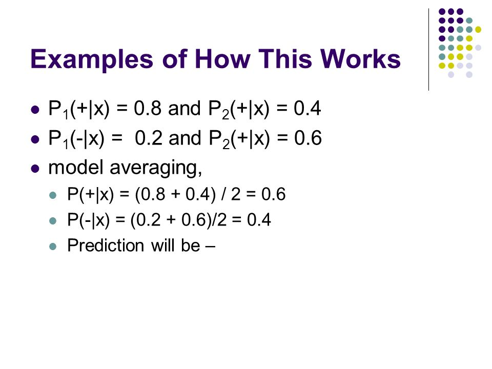 Examples of How This Works P 1 (+|x) = 0.8 and P 2 (+|x) = 0.4 P 1 (-|x) = 0.2 and P 2 (+|x) = 0.6 model averaging, P(+|x) = ( ) / 2 = 0.6 P(-|x) = ( )/2 = 0.4 Prediction will be –