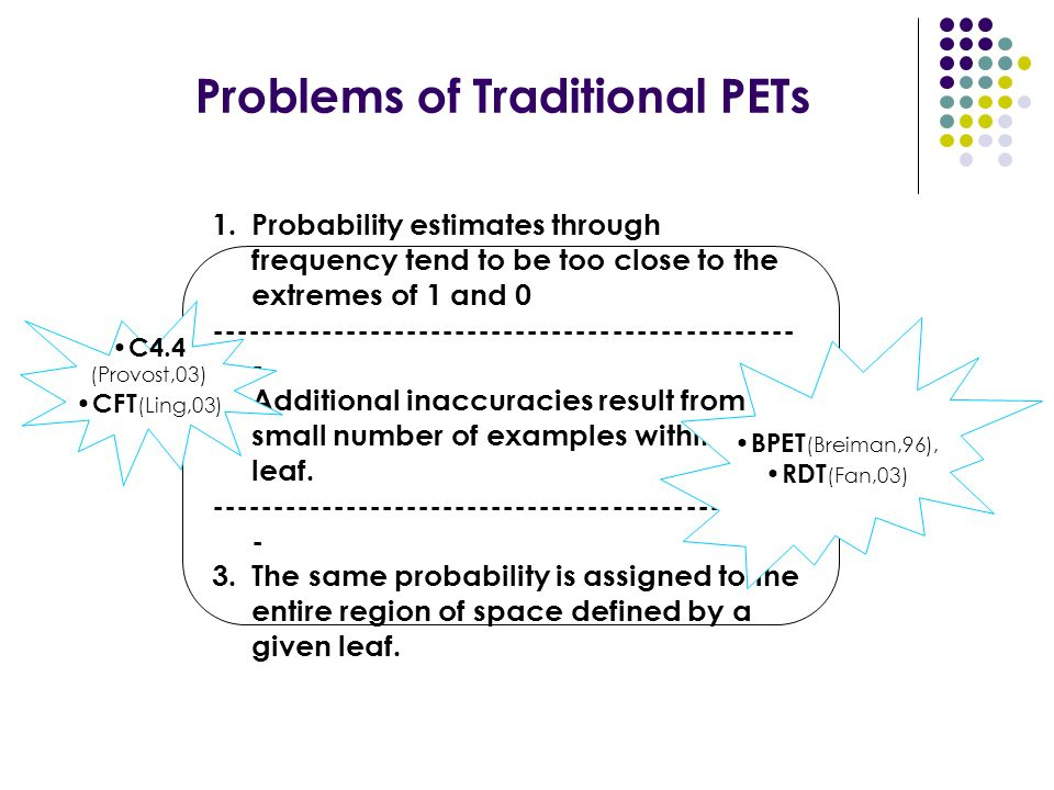 Problems of Traditional PETs 1.Probability estimates through frequency tend to be too close to the extremes of 1 and 0 ------------------------------------------------ - 2.Additional inaccuracies result from the small number of examples within a leaf.