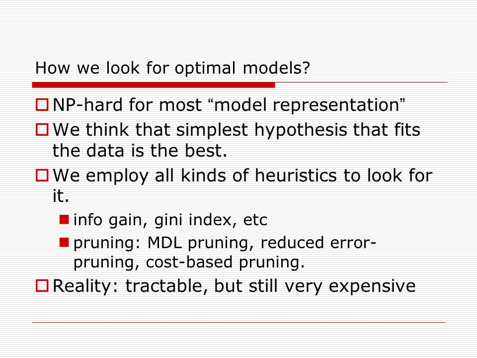 How we look for optimal models.