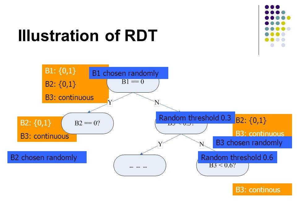 Illustration of RDT B1: {0,1} B2: {0,1} B3: continuous B2: {0,1} B3: continuous B2: {0,1} B3: continuous B3: continous Random threshold 0.3 Random threshold 0.6 B1 chosen randomly B2 chosen randomly B3 chosen randomly