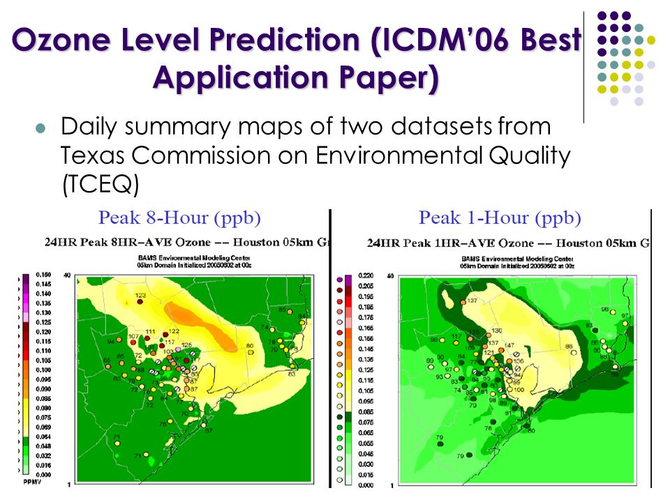 Ozone Level Prediction (ICDM06 Best Application Paper) Daily summary maps of two datasets from Texas Commission on Environmental Quality (TCEQ)