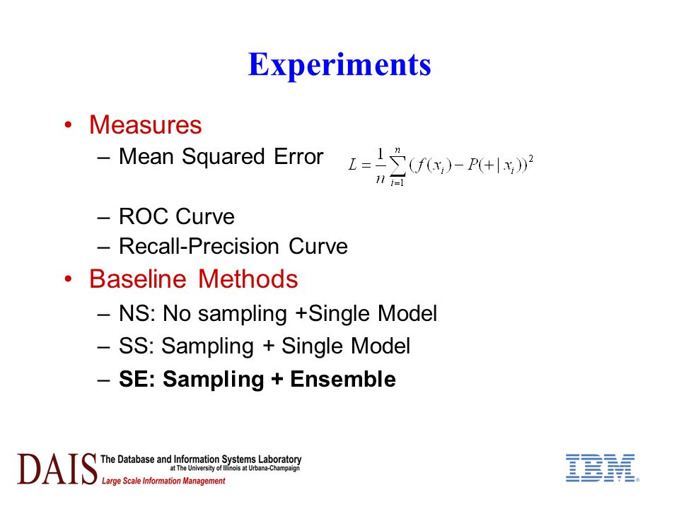Experiments Measures –Mean Squared Error –ROC Curve –Recall-Precision Curve Baseline Methods –NS: No sampling +Single Model –SS: Sampling + Single Mod