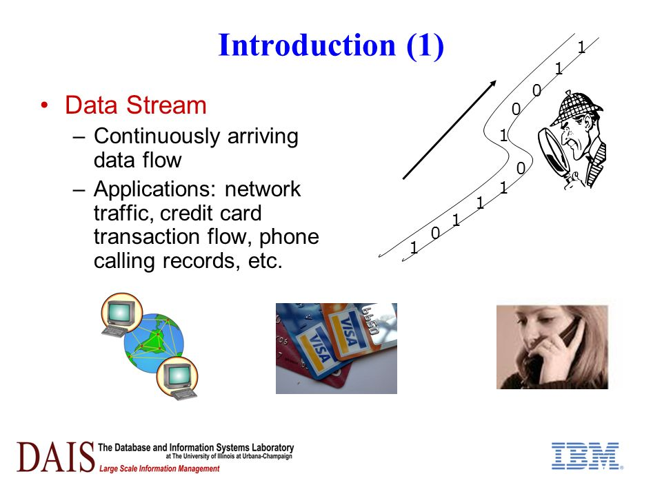 Introduction (1) Data Stream –Continuously arriving data flow –Applications: network traffic, credit card transaction flow, phone calling records, etc.