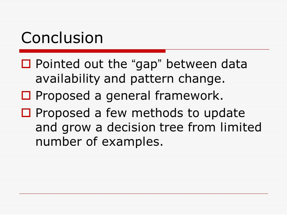 Conclusion Pointed out the gap between data availability and pattern change.