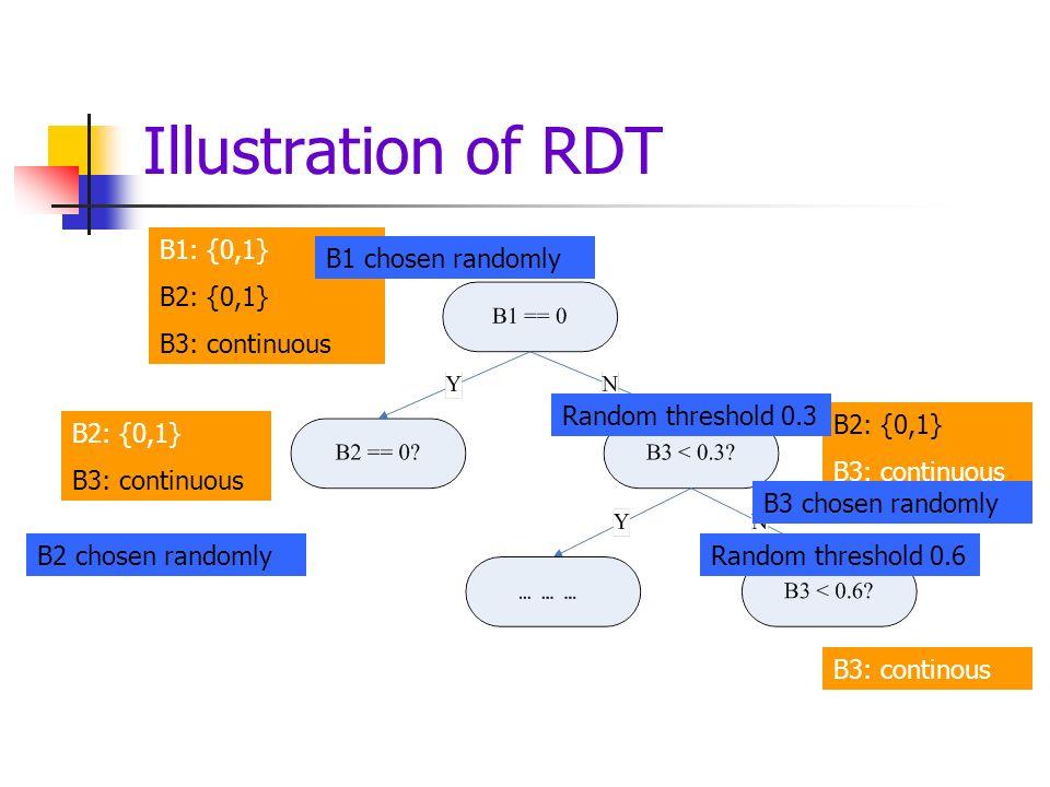 Illustration of RDT B1: {0,1} B2: {0,1} B3: continuous B2: {0,1} B3: continuous B2: {0,1} B3: continuous B3: continous Random threshold 0.3 Random threshold 0.6 B1 chosen randomly B2 chosen randomly B3 chosen randomly