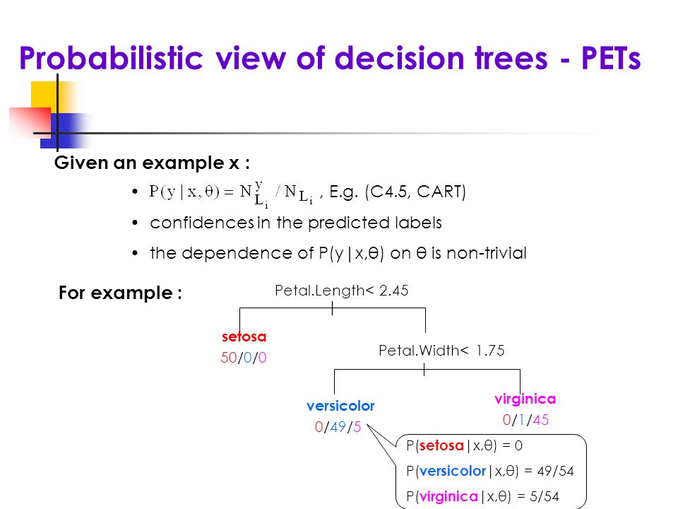 Probabilistic view of decision trees - PETs | Petal.Width< 1.75 setosa 50/0/0 versicolor 0/49/5 virginica 0/1/45 Petal.Length< 2.45 P( setosa |x,θ) = 0 P( versicolor |x,θ) = 49/54 P( virginica |x,θ) = 5/54 Given an example x :, E.g.