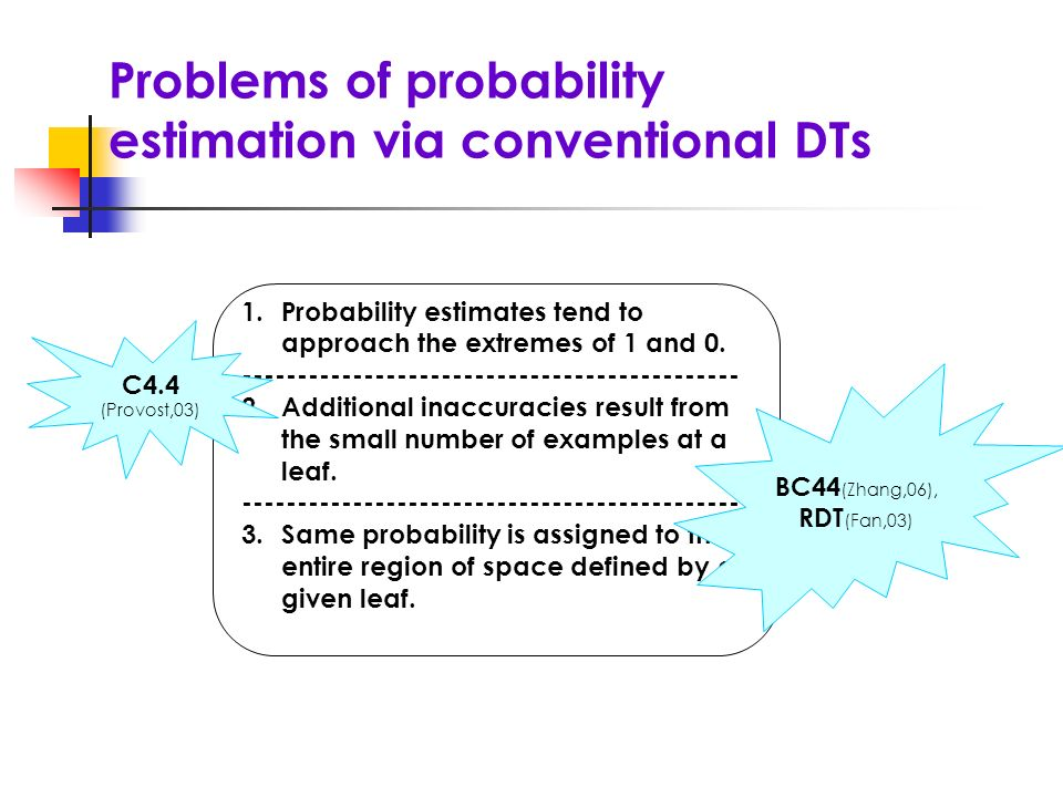 Problems of probability estimation via conventional DTs 1.Probability estimates tend to approach the extremes of 1 and 0. ----------------------------