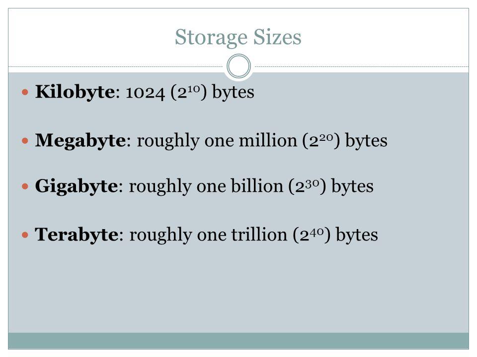 Storage Sizes Kilobyte: 1024 (2 10 ) bytes Megabyte: roughly one million (2 20 ) bytes Gigabyte: roughly one billion (2 30 ) bytes Terabyte: roughly o